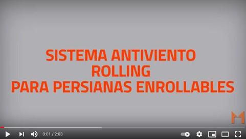 """Nuevo video con el sistema antiviento y antivandálico """"rolling"""" para persianas enrollables"""
